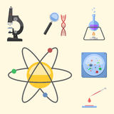 Lab symbols test medical laboratory scientific biology design molecule microscope concept and biotechnology science Royalty Free Stock Image