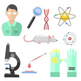 Lab symbols test medical laboratory scientific biology design molecule microscope concept and biotechnology science. Chemistry icons vector illustration Royalty Free Stock Image