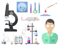 Lab symbols test medical laboratory scientific biology design molecule microscope concept and biotechnology science Royalty Free Stock Photos
