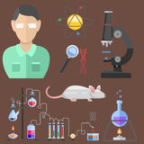 Lab symbols test medical laboratory scientific biology design molecule microscope concept and biotechnology science. Chemistry icons vector illustration Royalty Free Stock Photo