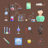 Lab symbols test medical laboratory scientific biology design molecule microscope concept and biotechnology science. Chemistry icons vector illustration Royalty Free Stock Photos