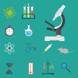 Lab symbols test medical laboratory scientific biology design molecule microscope concept and biotechnology science. Chemistry icons vector illustration Royalty Free Stock Images