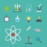 Lab symbols test medical laboratory scientific biology design molecule microscope concept and biotechnology science royalty free illustration