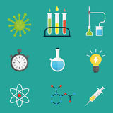 Lab symbols test medical laboratory scientific biology design molecule microscope concept and biotechnology science vector illustration
