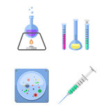 Lab symbols test medical laboratory scientific biology design molecule syringe concept and biotechnology science Royalty Free Stock Photography
