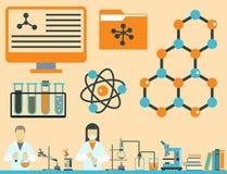 Lab symbols test medical laboratory scientific biology design science chemistry icons vector illustration. Royalty Free Stock Photo