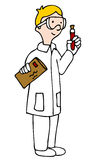 Lab Technician. An image of a lab technician looking at a vial of blood sample Royalty Free Stock Images