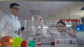 Lab technician and doctor testing something in medical laboratory. Woman adding liquid to test tubes with a micropipette. Two olleagues performs medical tests stock video