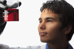 Lab technician holding a beaker Royalty Free Stock Photo