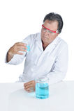 Lab Technician wearing safety glasses Stock Photo