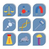 Lab vector symbols test medical laboratory scientific biology design molecule biotechnology science chemistry icons stock illustration