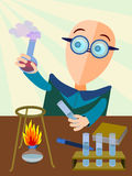 Lab work. Abstract character holding a beaker with smoking chemical Stock Photo