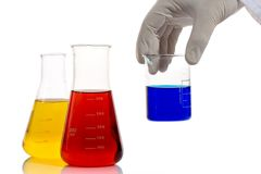 Lab worker analyzing chemicals Stock Photography