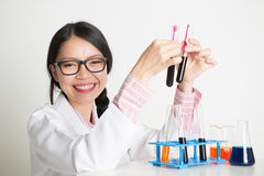 Lab worker doing blood sample test analysis Stock Photo
