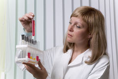 Lab worker with test tube. Lab worker examining contents of a test tube Royalty Free Stock Photography