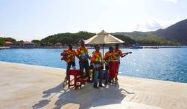 LABADEE,海地- 2018年5月01日:招呼地方音乐的小组唱和从游轮的游人在Labadee,海地靠了码头 库存照片