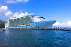LABADEE, HAITI - MAY 01, 2018: Royal Caribbean, Oasis of the Seas docked in Labadee, Haiti on May 1 2018. The second largest passenger ship ever constructed Stock Photos