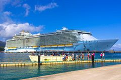 LABADEE, HAITI - MAY 01, 2018: Royal Caribbean, Oasis of the Seas docked in Labadee, Haiti on May 1 2018. The second largest passenger ship ever constructed Royalty Free Stock Images