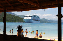 Labadee Hatiti Caribbean. Beautiful Caribbean private Island of Royal Caribbean Cruises with the ship in the bay Stock Photos