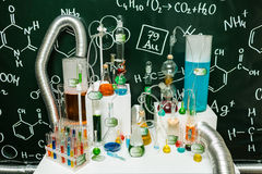 Labaratory test tubes and other equipment on programmers party Stock Photo