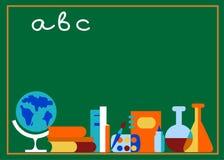 Labaratory und Schulezubehör, auf grünem Vorstand stock abbildung