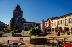Labastide d`Armagnac is a beautiful village located in the department of the Landes, France. Labastide d`Armagnac is one of the most beautiful bastides in royalty free illustration