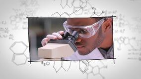 Labbassistenter som framme arbetar av kemiska utkast lager videofilmer