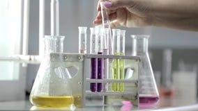 Labbflaskor och mätakoppar i medicinskt laboratorium lager videofilmer