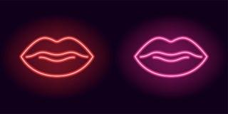 Labbra al neon rosse e rosa Fotografie Stock Libere da Diritti