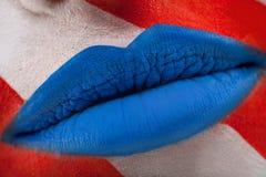 Labbra blu Fotografie Stock