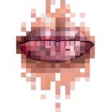 Labbra del pixel Fotografia Stock Libera da Diritti