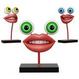 Labbra della figurina con gli occhi fotografia stock