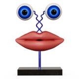 Labbra della figurina con gli occhi azzurri fotografia stock