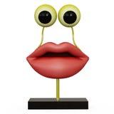 Labbra della figurina con gli occhi gialli Immagine Stock