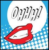 Labbra di Pop art con l'illustrazione di Ohhh Immagini Stock
