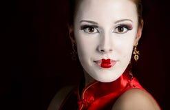 Labbra di rosso della geisha Fotografia Stock Libera da Diritti