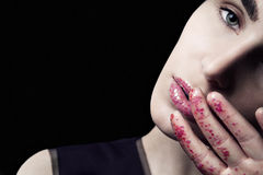 Labbra di scintillio di bellezza del primo piano Fotografia Stock