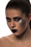 Labbra ed occhi neri di modo Fotografia Stock