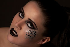 Labbra ed occhi neri di modo Immagini Stock