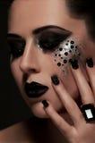Labbra ed occhi neri di modo Fotografia Stock Libera da Diritti