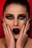Labbra ed occhi neri di modo Fotografie Stock Libere da Diritti