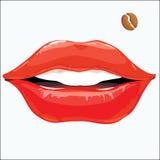 Labbra femminili con una voglia sotto forma di caffè Immagini Stock Libere da Diritti