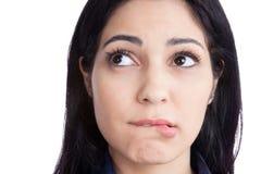 Labbra mordaci della giovane donna felice Fotografie Stock Libere da Diritti