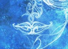 Labbra ornamentali della donna del disegno, schizzo della matita su carta, collage del computer ed effetto del vinter Fotografia Stock