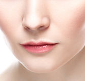 Labbra perfette Guance del mento del collo Fine sexy della bocca della ragazza su immagini stock