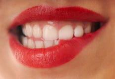 Labbra rosse Fotografie Stock