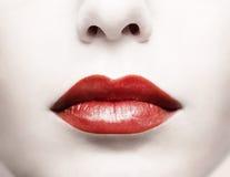 Labbra rosse Immagini Stock