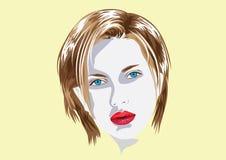 Labbra rosse dell'illustrazione del fronte della ragazza ed occhi alla moda Immagini Stock