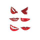 Labbra rosse emozionali Immagine Stock