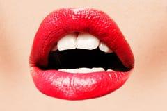 Labbra rosse sexy fotografia stock